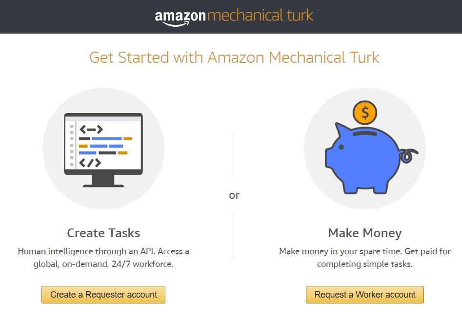 Amazon Mechanical Turk account set up screen