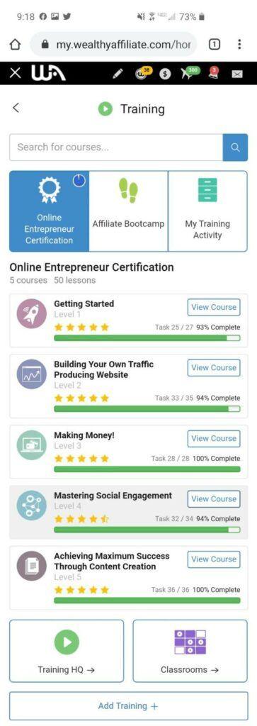Wealthy Affiliate Online Entrepreneur Certification